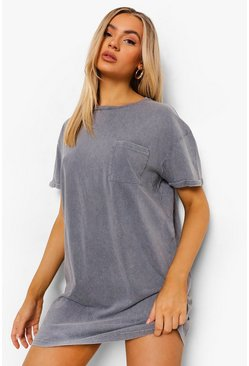 Grey Acid Wash T-shirt Dress