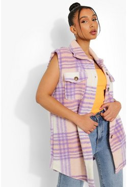 Lilac purple Check Brushed Sleeveless Shacket