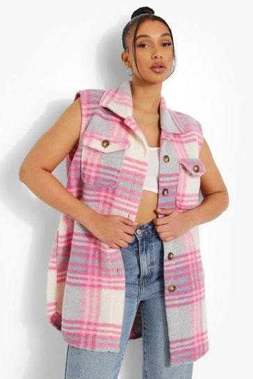 Pink Check Brushed Sleeveless Shacket