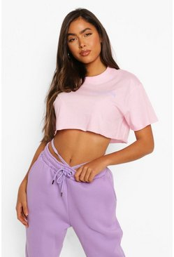 Light pink pink Positive Vibes Cropped T Shirt