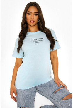 Baby blue blue Self Worth T Shirt