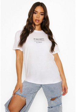 White Self Worth T Shirt