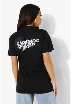 Black Studio Collection Back Print T Shirt