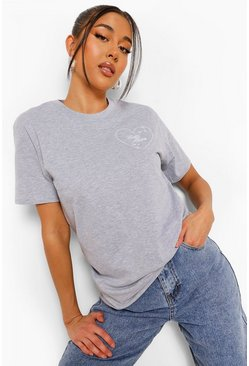 Grey marl grey Self Love Embroidery Detail T Shirt