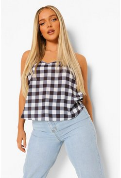 Black Gingham Print Cami