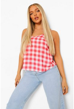 Red Gingham Print Cami