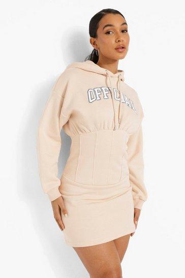 Sand beige Printed Corset Hoodie Dress