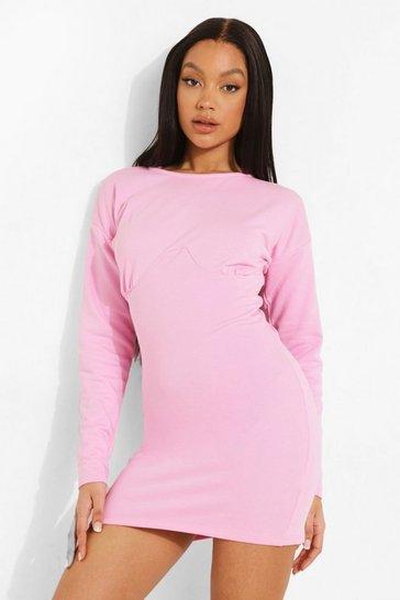 Pink Underbust Corset Sweatshirt Dress