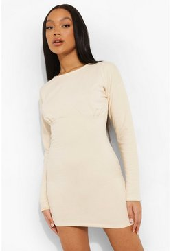 Stone beige Underbust Corset Sweat Dress