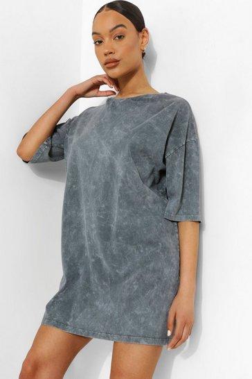 Charcoal grey Stone Wash T-shirt Dress
