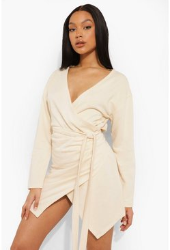 Wrap Belted Sweat Dress, Stone beige