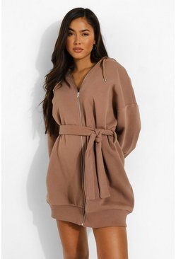 Chocolate brown Oversized Zip Through Belted Hoodie Dress