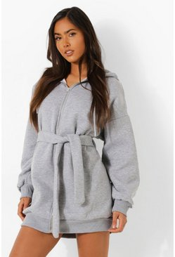 Oversized Zip Through Belted Hoodie Dress, Grey marl grigio