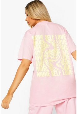 Pale pink pink Self Love Back Print Oversized T Shirt Shirt