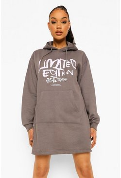 Charcoal grey Limited Edition Grafitti Hoodie Dress