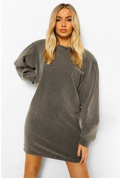 Charcoal grey Volume Sleeve Acid Wash Sweat Dress