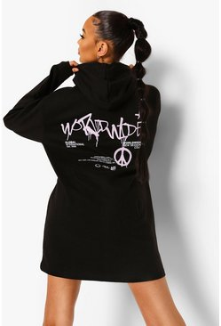 Black Graffiti Back Print Hoodie Dress
