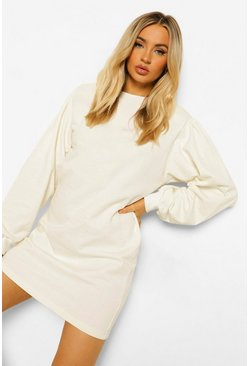 Ecru white Volume Sleeve Sweatshirt Dress