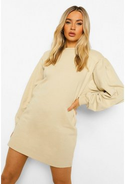 Stone beige Volume Sleeve Sweatshirt Dress