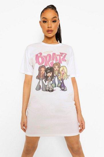 White Bratz License Print T-shirt Dress