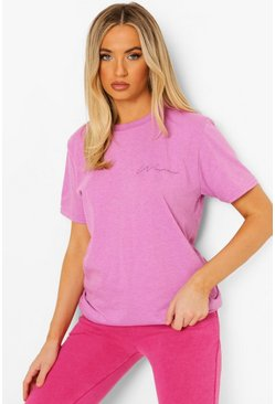 Woman Embroidered Oversized T-shirt, Lilac violet