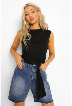 Black Tall Rib Tie Detail Top