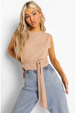 Sand beige Tall Rib Tie Detail Top