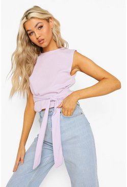 Violet purple Tall Rib Tie Detail Top
