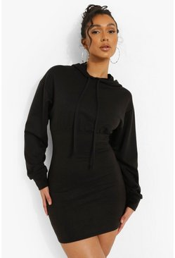 Black Fitted Body Hoodie Dress