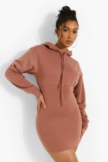 Chocolate brown Fitted Body Hoodie Dress