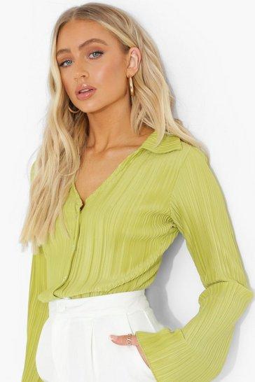 Green Plisse Bell Sleeve Shirt