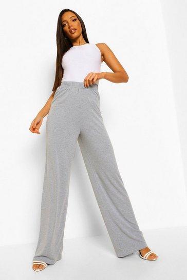 Grey Tall Wide Leg Jersey Trousers
