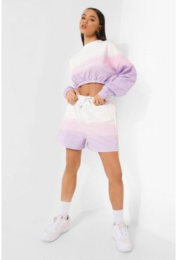 Ombre Tie Dye Short Tracksuit, Pink rosa