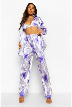 Lilac purple Tie Dye Satin Wide Leg Trousers