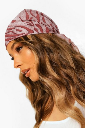 Brown Zebra Print Chiffon Head Scarf