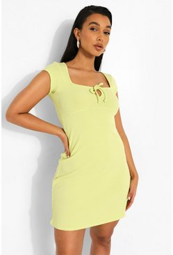 Lime green Tie Front Rib Sundress