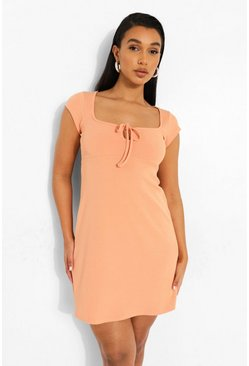 Orange Tie Front Rib Sundress