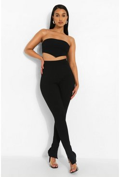 Rib Side Split Trousers, Black schwarz
