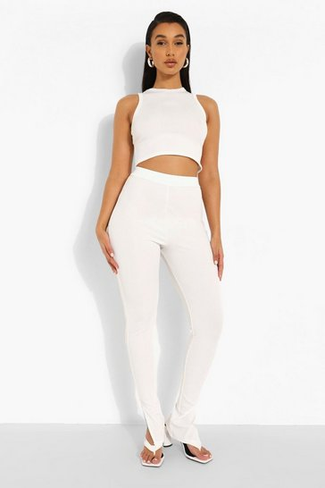 White Rib Side Split Trousers