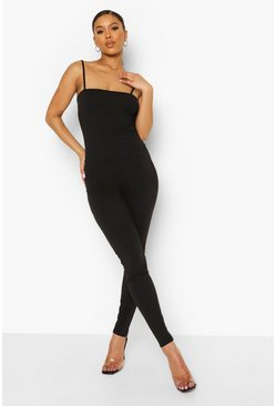 Strappy Lace Up Back Jumpsuit, Black schwarz