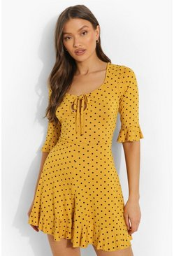 Mustard yellow Playsuit Met Stippen En Driekwartsmouwen