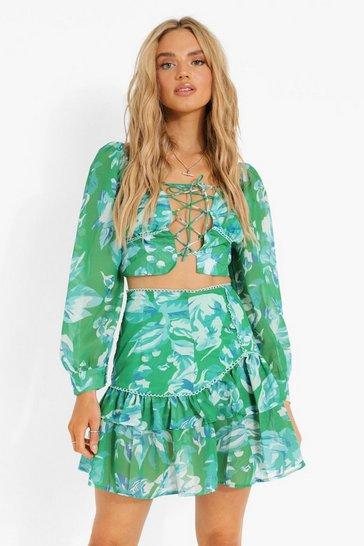 Emerald green Floral Volume Sleeve Crop & Drop Hem Mini