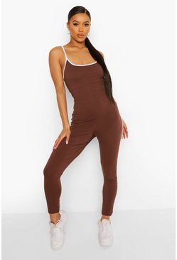 Chocolate brown Side Stripe Strappy Plunge Jumpsuit