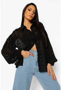 Dobby Spot Volume Sleeve Blouse, Black noir