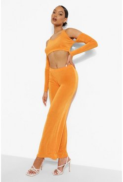 Orange Textured Slinky Crop & Wide Leg Trousers