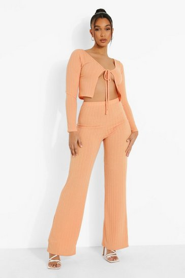 Orange Ribbed Tie Front Cardigan & Wide Leg Trousers