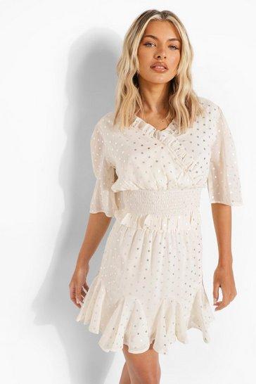 Ivory white Metallic Polka Dot Ruffle Blouse & Skirt