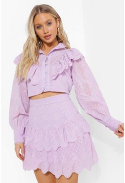 Ruffle Front Cropped Lace Blouse, Lilac morado