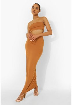 Terracotta orange Bandeau & Maxi Skirt