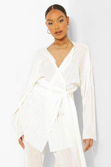 Ivory white White Tie Waist Plisse Kimono